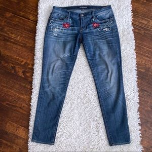 Driftwood  embroidered skinny jeans size 30 floral